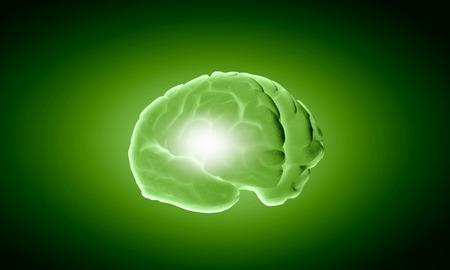 losing memory: Science image with human brain on green background