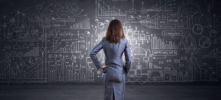 woman back: Rear view of businesswoman looking at chalk business sketches on wall