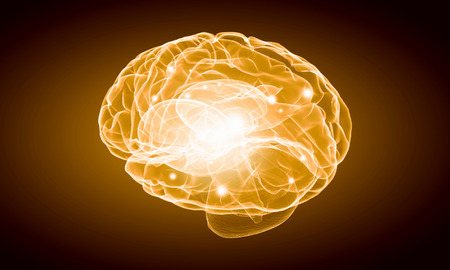 losing memory: Science image with human brain on yellow background Stock Photo