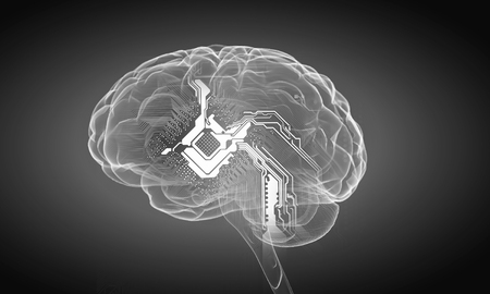 losing knowledge: Science image with human brain on gray background Stock Photo