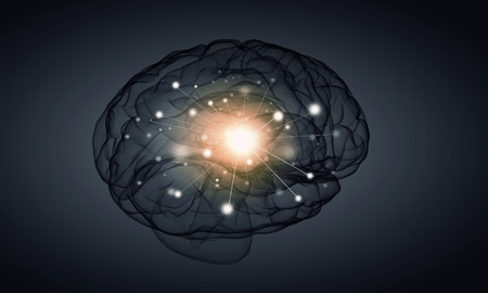 losing memories: Science image with human brain on gray background Stock Photo