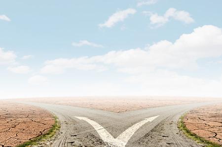 Concept van keuze met kruispunten spliting op twee manieren
