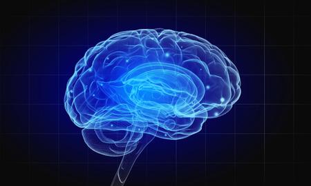 어두운 배경에 인간의 두뇌와 과학 이미지