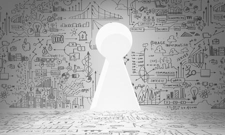 key hole: Business plan sketch on wall with key hole