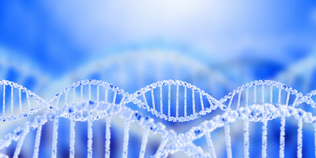 Digital blue image of DNA molecule and technology concepts Stock fotó - 43412835
