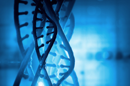 Digital blue image of DNA molecule and technology concepts Banco de Imagens