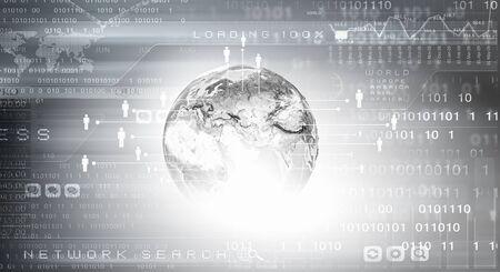 binary globe: Background conceptual image of digital globe and binary code.