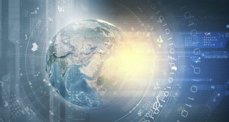 connected world: Earth planet on technology background.