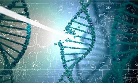 Biochemistry concept with digital blue DNA molecule Stock Photo