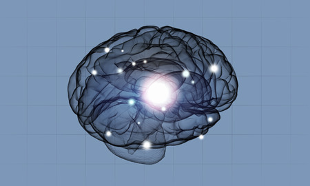 losing brain function: Science image with human brain on blue background