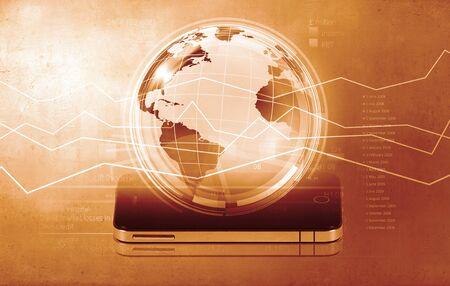 internet movil: Concepto de Internet m�vil con el tel�fono m�vil y el planeta digitales