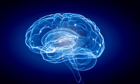 Afbeelding wetenschap met de menselijke hersenen op een blauwe achtergrond
