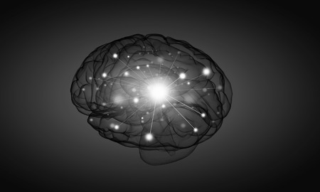 losing brain function: Science image with human brain on gray background Stock Photo