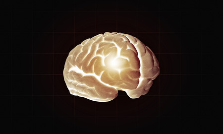 losing knowledge: Science image with human brain on dark background