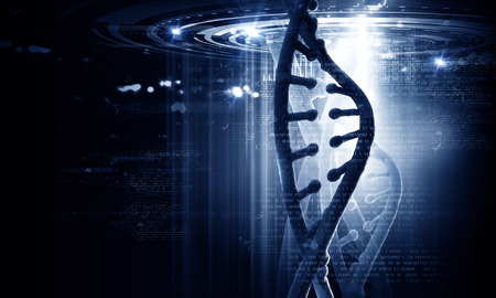 biochemistry: Biochemistry concept with digital blue DNA molecule Stock Photo