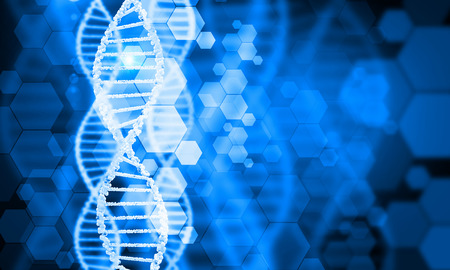 Digital blue image of DNA molecule and technology concepts Stok Fotoğraf