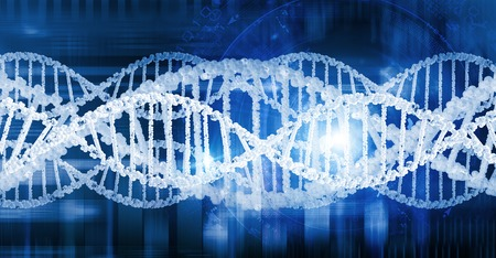 genomes: Digital blue image of DNA molecule and technology concepts Stock Photo