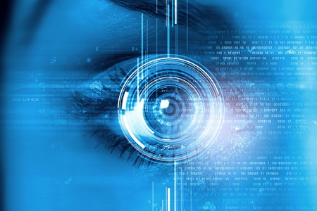 blue eye: Close up of female digital eye with security scanning concept Stock Photo