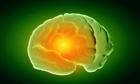 losing knowledge: Science image with human brain on green