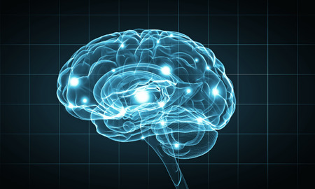Science image with human brain on blue