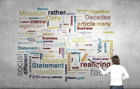 business security: Young businessman standing with back and painting different words on wall Stock Photo