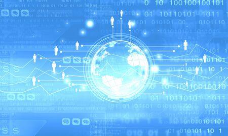 binary globe: conceptual image of digital globe and binary code