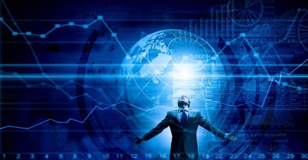 Businessman with hands spread apart and digital planet concept