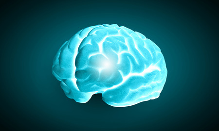losing brain function: Science image with human brain on green