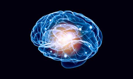 losing knowledge: Science image with human brain on dark