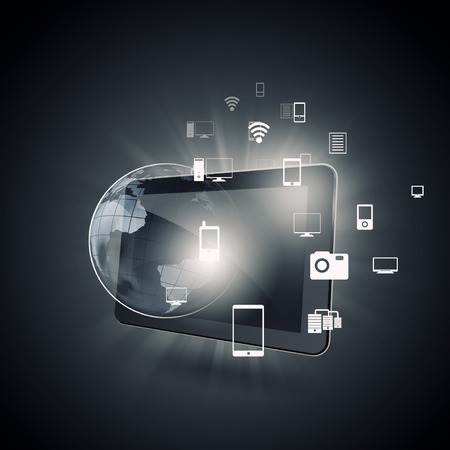 application icons: Cloud computing concept with tablet pc and application icons