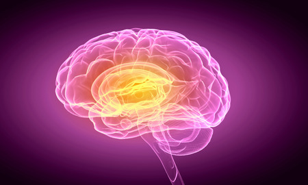 Science image with human brain on purple background Foto de archivo