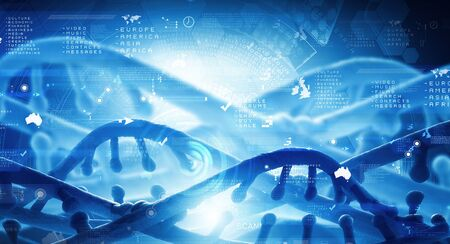 dna: Digital blue image of DNA molecule and technology concepts Stock Photo