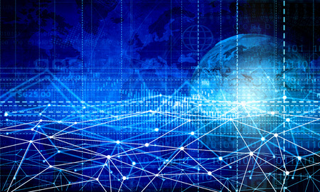 security technology: Business abstract image with high tech graphs and binary code