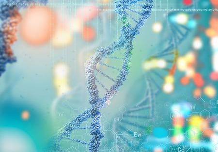 Biochemistry concept with digital blue DNA molecule Stock Photo