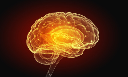 Science image with human brain on dark background