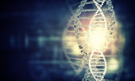 Digital blue image of DNA molecule and technology concepts Imagens