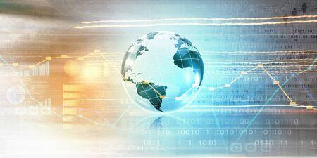 binary globe: Background conceptual image of digital globe and binary code Stock Photo