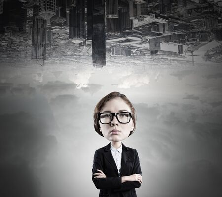 big head: Funny young businesswoman with big head wearing glasses Stock Photo