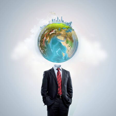 business globe: Business man with globe for head.