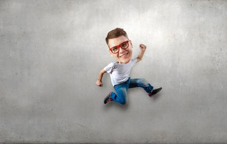 funny picture: Funny picture of running man with big head over cement background