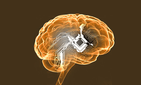 losing knowledge: Science image with human brain on yellow background Stock Photo