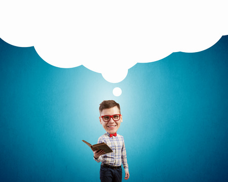 funny glasses: Funny big headed man in glasses with book in hands Stock Photo