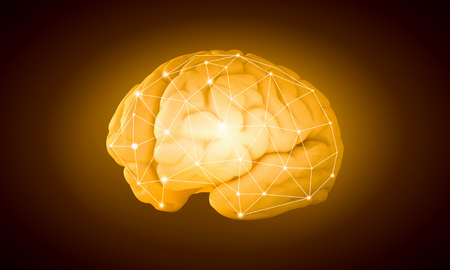 losing brain function: Science image with human brain on yellow background Stock Photo