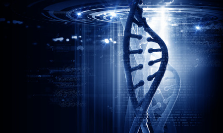 biotecnologia: Concepto de Bioqu�mica con digitales mol�cula de ADN azul