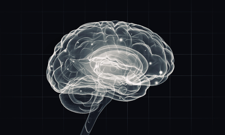 losing brain function: Science image with human brain on dark background