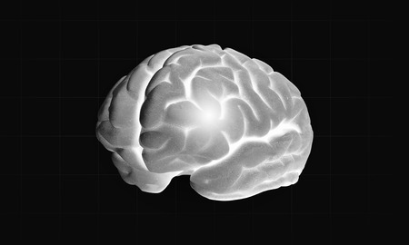 losing memories: Science image with human brain on dark background