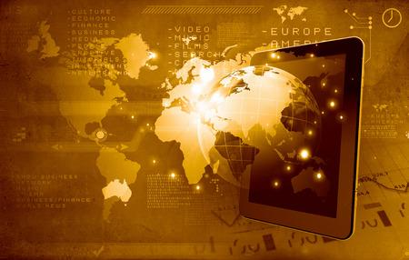 alrededor del mundo: Concepto de conexión global con Tablet PC y el planeta Tierra digitales