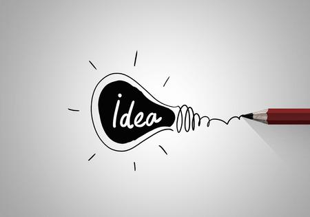 dessin: Image Idea concept avec ampoule dessin au crayon de lumi�re Banque d'images
