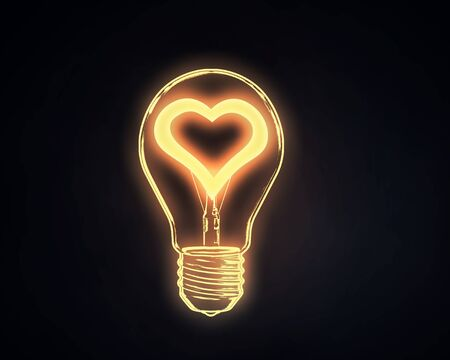 electric bulb: Lightbulb with glowing heart inside onn dark background