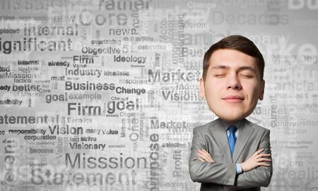 eyes closed: Young man with big head thinking about something with eyes closed Stock Photo